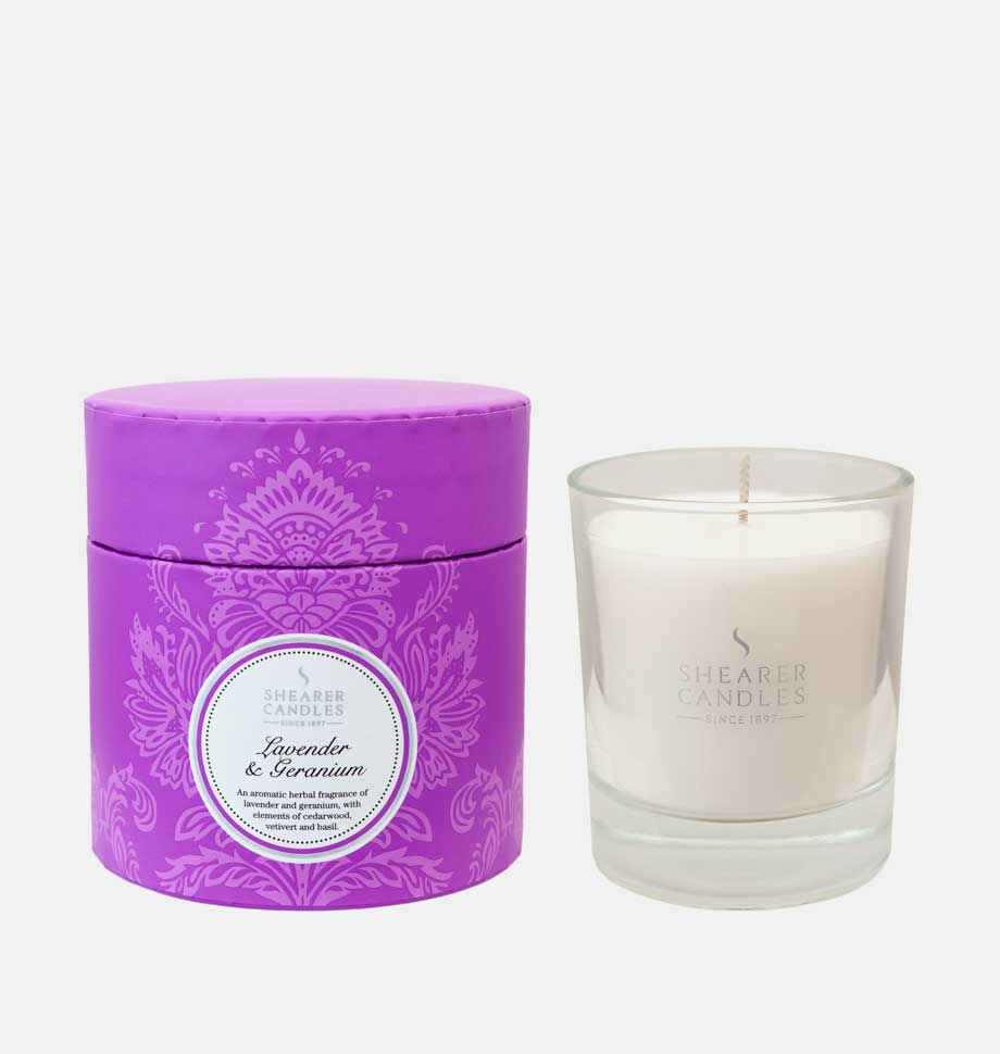 Lavender and Geranium Scented Candle