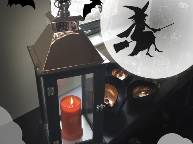 Halloween lantern and candle