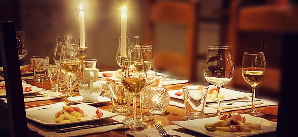 Dinner Table with dining candles
