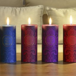 pillar candles on table