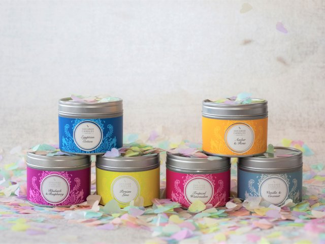 Selection of 6 small tin candles