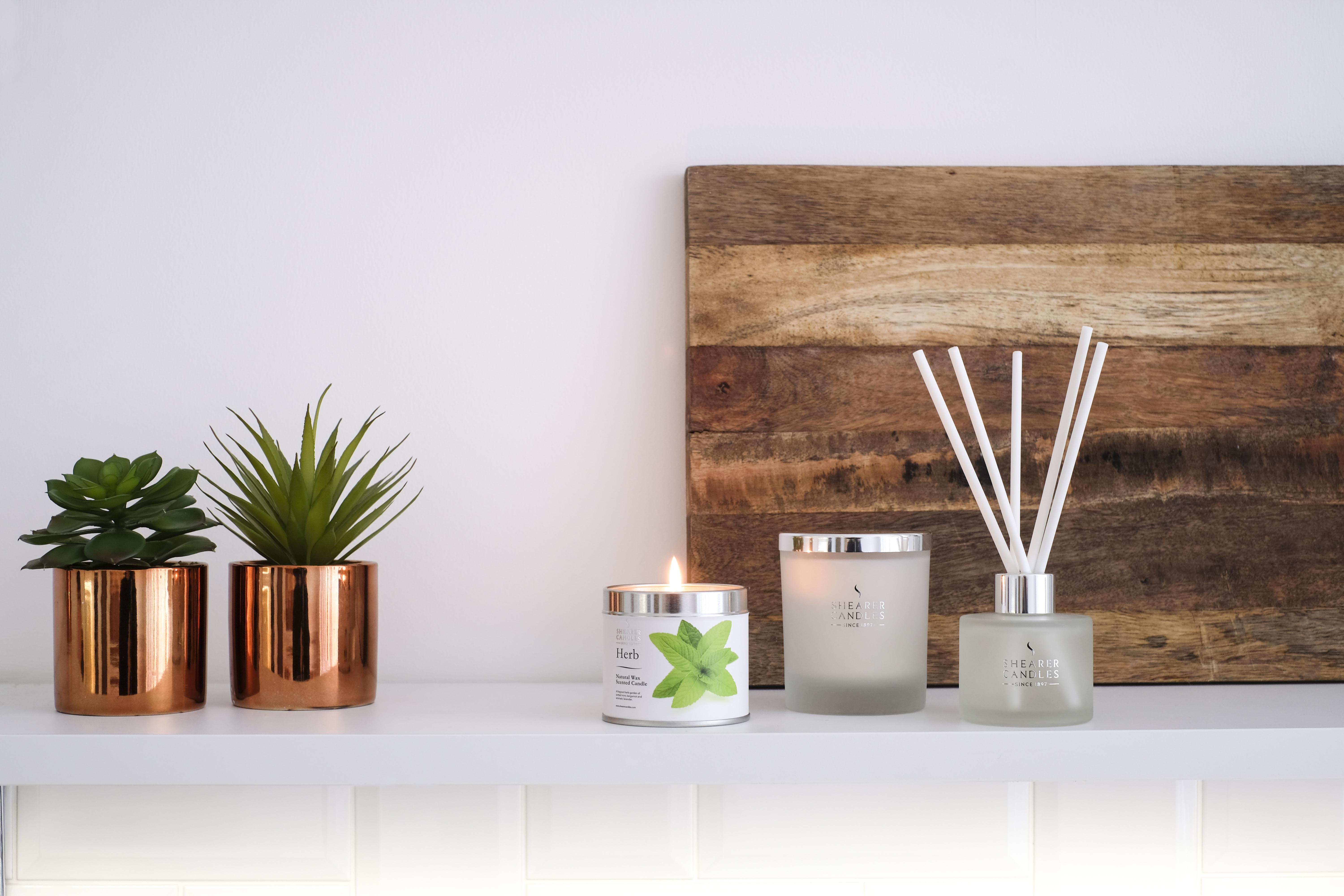 natural spa candles, diffusers and plants