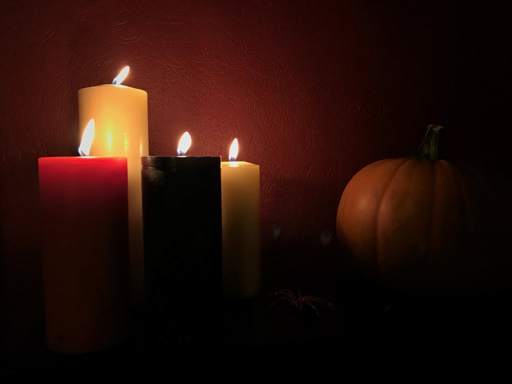 Halloween candles and pupkin