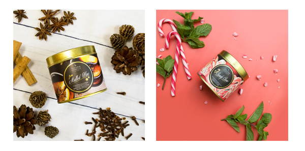 Candy Cane and Mulled Wine Scented Tin Candles