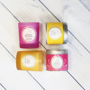 Tin and glass scented candles