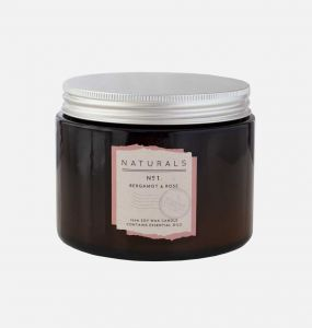 Bergamot & Rose Scented Candle