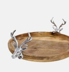 Stag Wooden Cake Plate