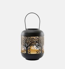 Black & Gold Candle Lantern Medium